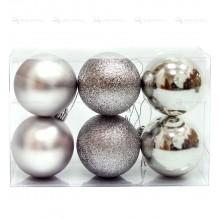 Елочная игрушка шар серебро 60мм Набор 6шт