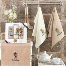 Полотенца вафельные набор 3 шт бежевый Новогодний