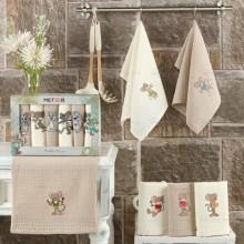 Полотенца вафельные набор 6 шт бежевый Новогодний