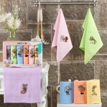 Полотенца вафельные набор 6 шт цветной Новогодний