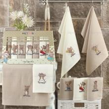 Полотенца вафельные набор Неделька бежевый Новогодний