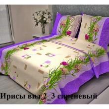 Постельное белье Бязь 1.5-спальное 2/3 Ирисы сиреневый