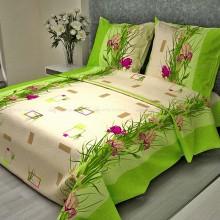 Постельное белье Бязь 1.5-спальное 3/3 Ирисы зелёный