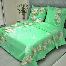 Постельное белье Бязь 1.5-спальное 82 Лилии зелёный